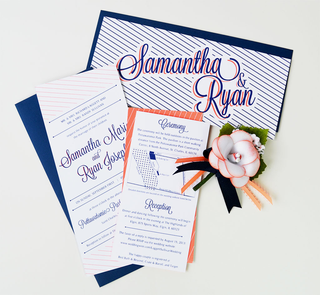 silkscreen wedding invitation samantha and ryan - Bed Bath And Beyond Wedding Invitations